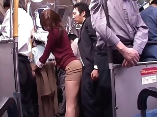 Japanese whore sucks dick in a public bus blowjob public hd porn